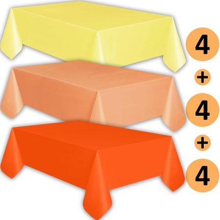 12 Plastic Tablecloths - Lemon yellow, Peach, Orange - Premium Thickness Disposable Table Cover, 108 x 54 Inch, 4 Each Color