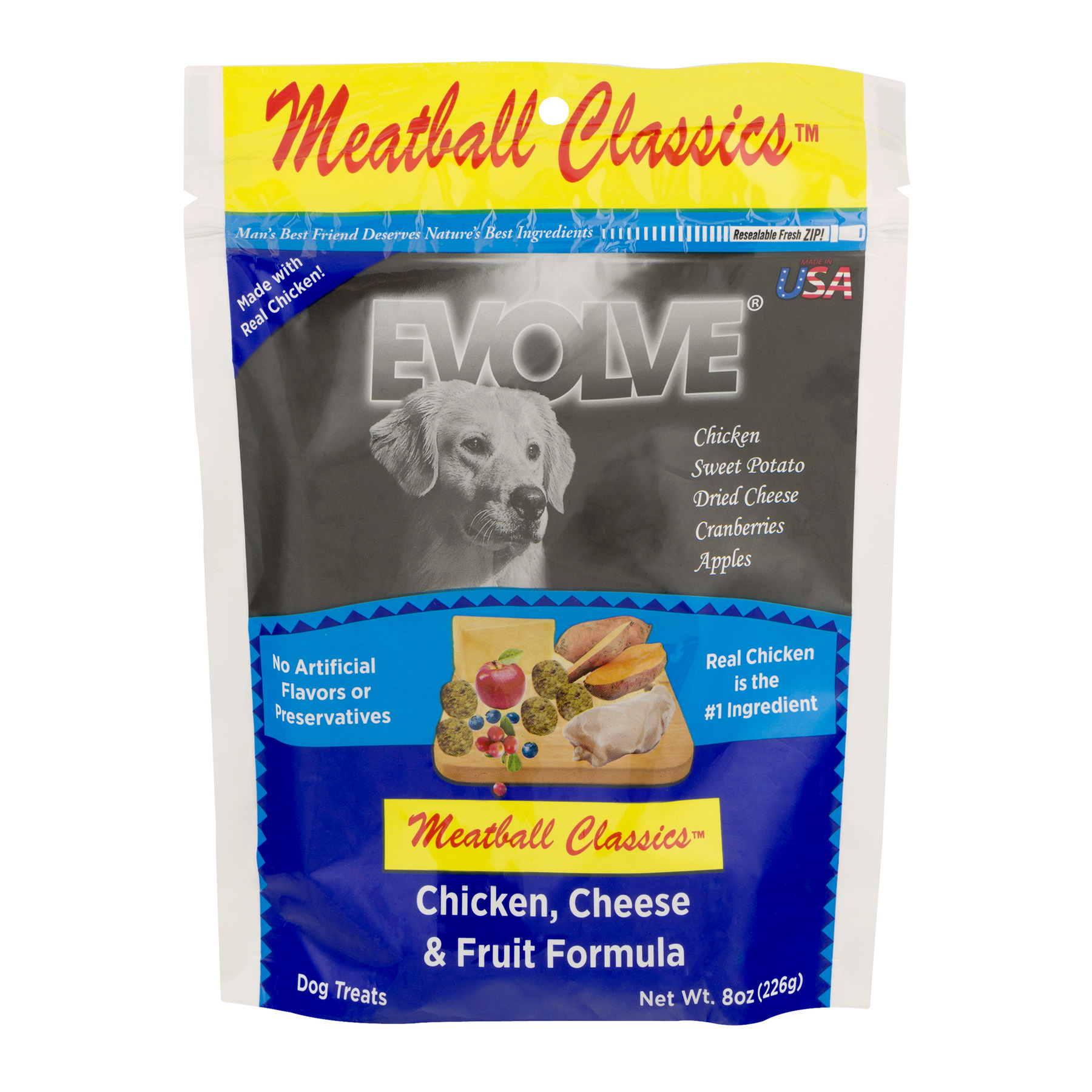 Evolve Chicken, Cheese and Fruit Formula Meatball Dog Treats, 8 oz