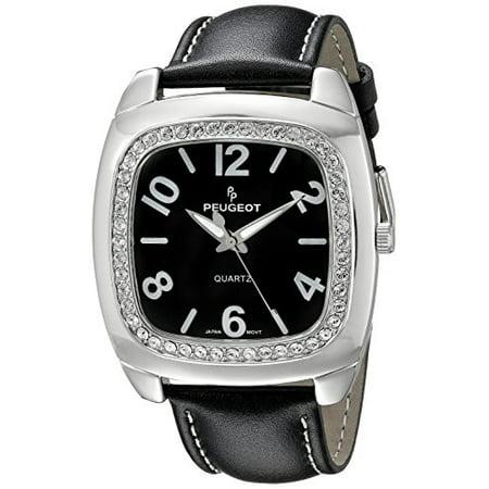 - Women's 310BK Silver-Tone Swarovski Crystal Accented Black Leather Strap Watch