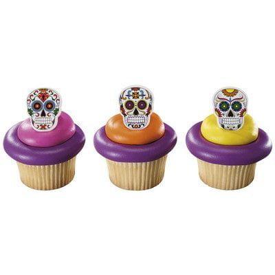 Decoracion De Tortas Para Halloween (Day of the Dead  Halloween Dia de Muertos Skeleton Cupcake Rings (24)