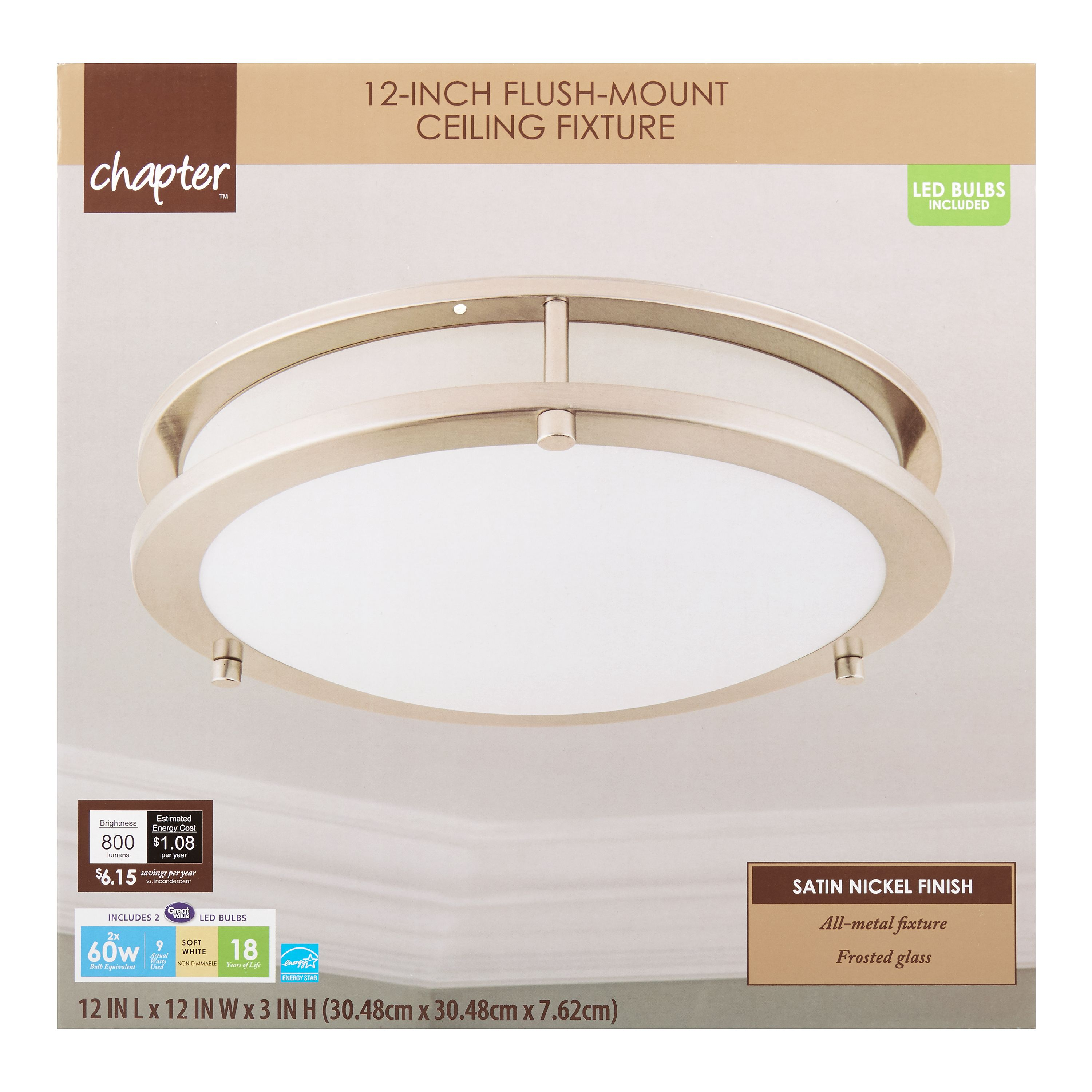 "Chapter 12"" LED Decorative Flush-Mount Ceiling Fixture, Satin Nickel"