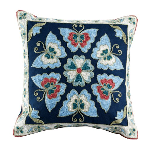 Elight Home Auburn Embroidered Cotton Throw Pillow