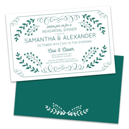 Green Leaves Personalized Rehearsal Dinner Invitations - Halloween Dinner Party Invitations