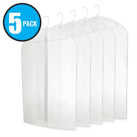 Plixio 40 Inch PEVA Garment Bags - Clear Plastic Hanging Clothing Storage for Suits or Dresses (5 Pack) ()