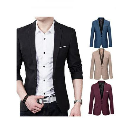 - Micelec Men's Slim Formal Business Suit Coat One Button Lapel Long Sleeve Pockets Top