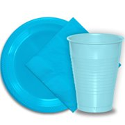 """50 Aqua Plastic Plates (9""""), 50 Light Blue Plastic Cups (12 oz.), and 50 Aqua Paper Napkins, Dazzelling Colored Disposable Party Supplies Tableware Set for Fifty Guests."""