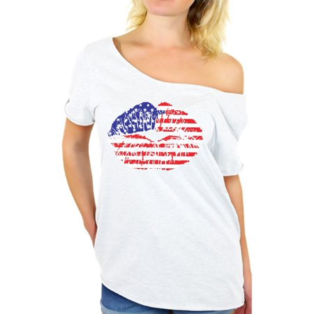 f1a42dfe2fd Awkward Styles American Flag Off Shoulder T Shirt Tops Lips Shirts for  Women USA Flag Stars and Stripes Lips Tee Shirt Red White & Blue Lips Tshirt  4th of ...