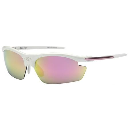 7feea0f005 NAGA Sports - NAGA Sports Pioneer Model UV400 Sports Sunglasses - (NON  Polarized Racing Red Lens White Frame) - Walmart.com