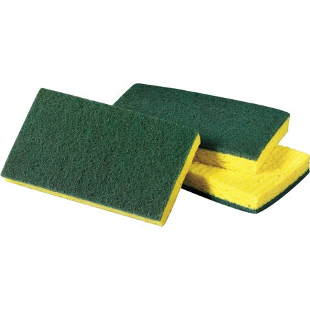 Scotch-Brite Medium-Duty Scrub Sponges, Yellow, Green, 10 / Pack (Quantity)