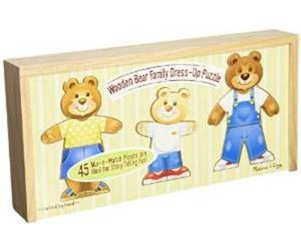 Melissa & Doug Mix 'n Match Wooden Bear Family Dress-Up Puzzle with Storage Case, 45pc by Melissa & Doug