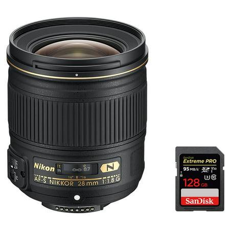 Nikon (2203) AF FX Full Frame NIKKOR 28mm f/1.8G Compact Wide-angle Prime Lens w/ Auto Focus + Sandisk Extreme PRO SDXC 128GB UHS-1 Memory
