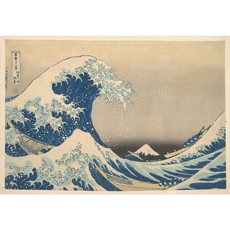Under the Wave off Kanagawa (Kanagawa oki nami ura) also known as The Great Wave from the series Thirty-six Views of Mount Fuji (Fugaku sanjurokkei) Poster Print by Katsushika Hokusai (Japanese Tokyo