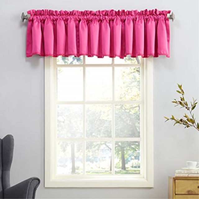Sun Zero Barrow Energy Efficient Rod Pocket Curtain Valance 54 X 18 Pink Walmart Com Walmart Com