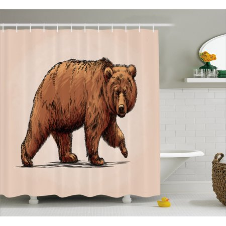 Bear Shower Curtain, Ink Drawing Style Wildlife Beast Carnivore Figure Walking Zoology Nature Themed Art, Fabric Bathroom Set with Hooks, Brown Rose, by Ambesonne