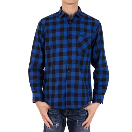 SAYFUT Plaid Button Up Shirt Faded Glory Men Flannel Shirt Button Down Long Sleeve Big and Tall L-4XL Plaid Shirt