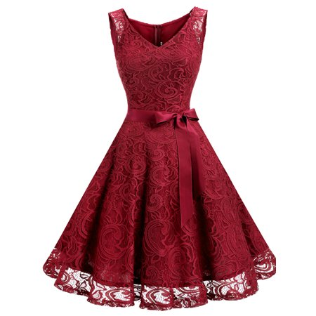 Market In The Box Women Floral Lace V Neck Sleeveless Bridemaid Party - Red Hooded Dress