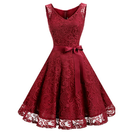 Market In The Box Women Floral Lace V Neck Sleeveless Bridemaid Party Dress - Minnie Mouse Pink Dress