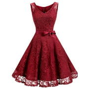 Market In The Box Women Floral Lace V Neck Sleeveless Bridemaid Party Dress