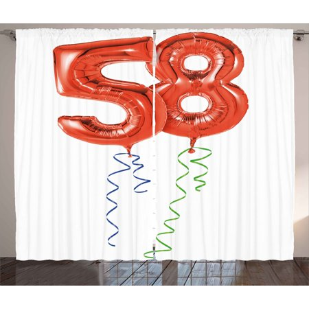 58th Birthday Curtains 2 Panels Set, Getting Older Best Wishes Balloons Party Day Anniversary Artwork Picture, Window Drapes for Living Room Bedroom, 108W X 96L Inches, Red and White, by