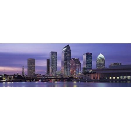 USA Florida Tampa View of an urban skyline at night Poster