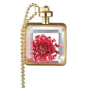 Alloy Gold Color Flower Glass Locket Necklace Red Gold Color Glass Locket Necklace