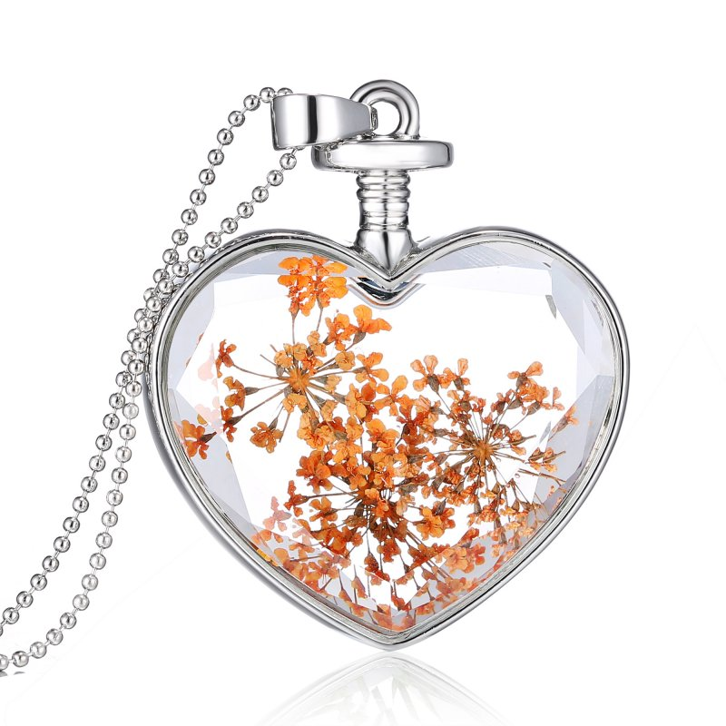 Women's Fashion Heart Glass Bottle Dried Flower Pendant Necklace Jewerly