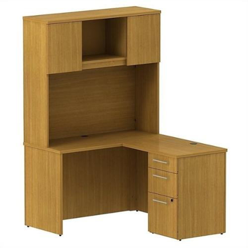 "Bush BBF 300 Series 48"" L-Shaped Desk with Hutch in Modern Cherry"