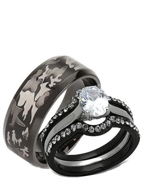 Black Wedding Rings For Him And Her | His Hers Sets Walmart Com