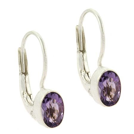 February Birthstone Lever Back Earrings - Sterling Silver Genuine Amethyst Stone Oval LeverBack Lever Back Earrings
