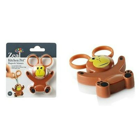 - Zeal Mini Animal Character Kitchen Scissors with Magnetic Base / Fridge Magnet (Monkey)