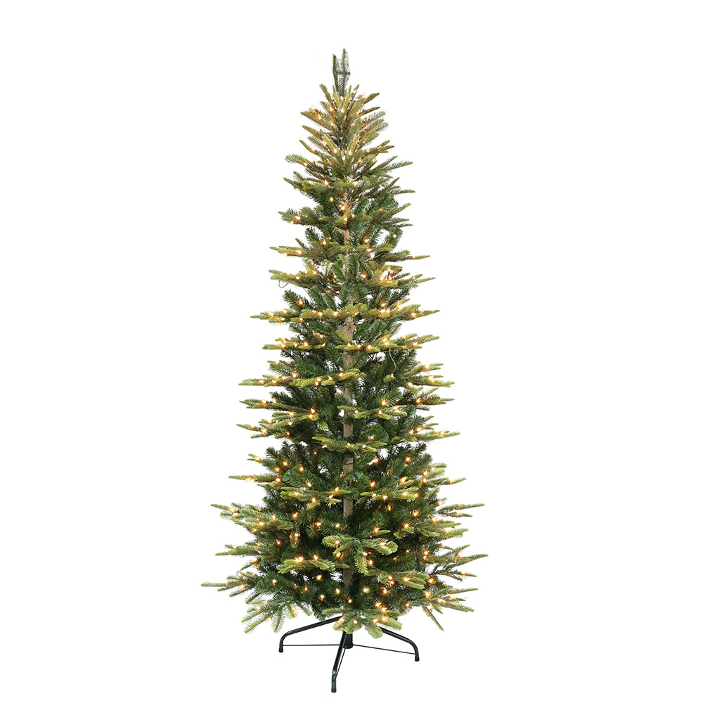Puleo International 7.5 ft. Pre-Lit Slim Aspen Fir Artificial Christmas Tree with 450 UL-Listed Clear Lights