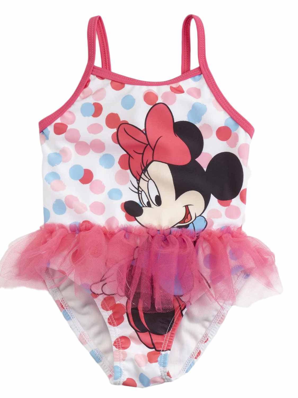 Disney Infant Girls Pink Polka Dot Ruffle Minnie Mouse 1 Pc Tutu Swimming Suit