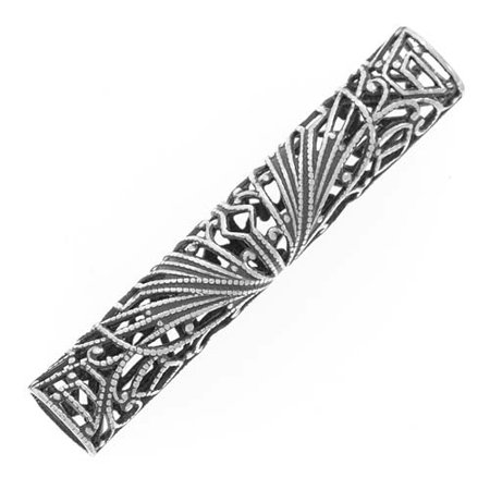 Antiqued Silver Plated Large Filigree Tube Bead 51mm (1) - Large Tubes