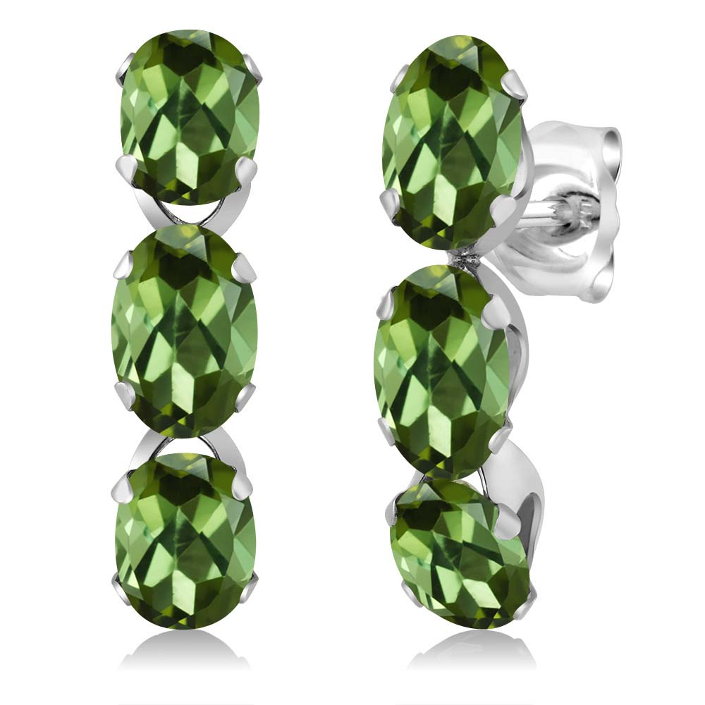 2.40 Ct Oval Green Tourmaline 925 Sterling Silver 3-Stone Earrings by