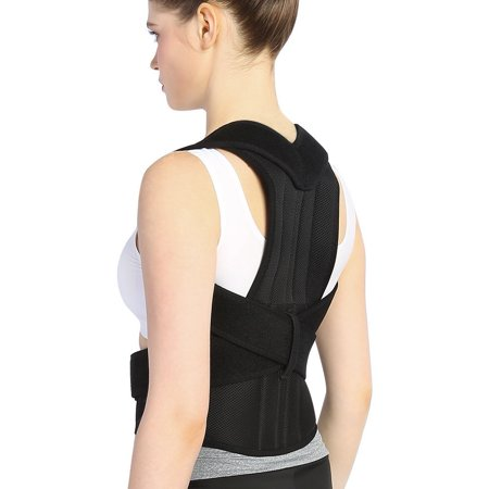 Posture Back Brace Support Belts for Upper Back Pain Relief, Adjustable Size with Waist Support Wide Straps Comfortable for Men Women ()