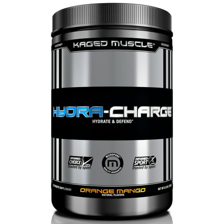 Image of Kaged Muscle Hydra-Charge Premium Electrolyte Hydration, Water Enhancer, and Workout Defense Powder, 60 Servings, 276 Grams, Orange Mango