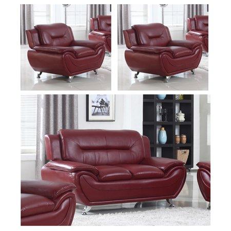 Norton Burgundy Faux Leather Modern Living Room Loveseat and 2-Chair Set 2 Seat Burgundy Leather Theater