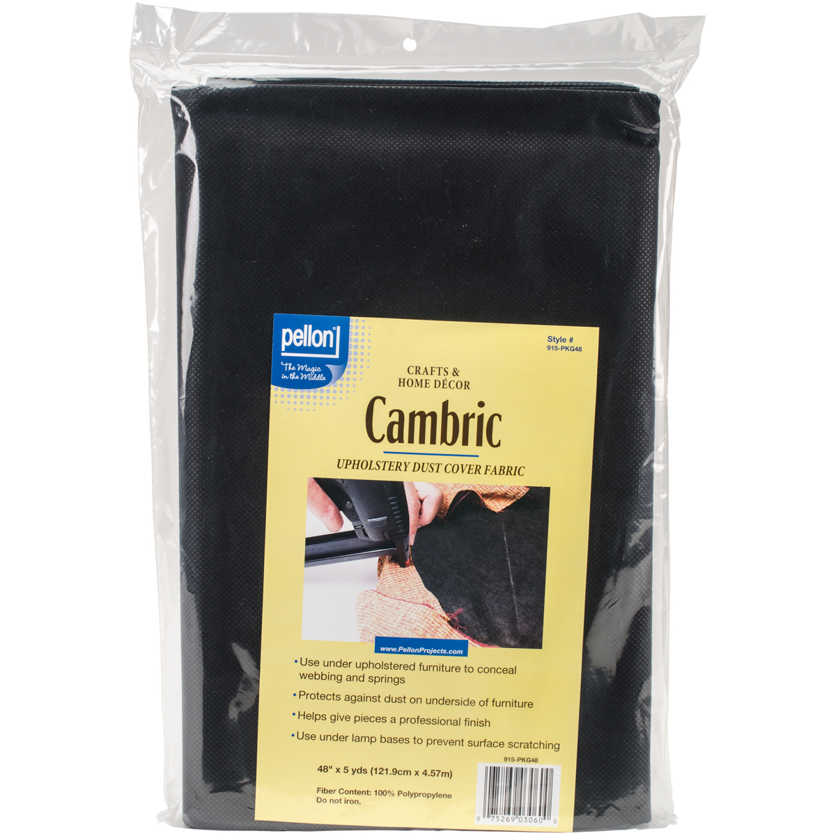"Pellon Cambric Fabric For Upholstery 36""X5yd-Black"