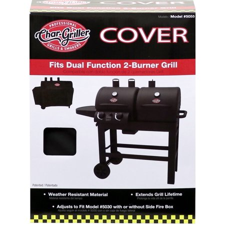 Char Griller Dual 2 Burner Gas And Charcoal Grill Cover With Expansion Sleeve To Accommodate Side Firebox Black 5055