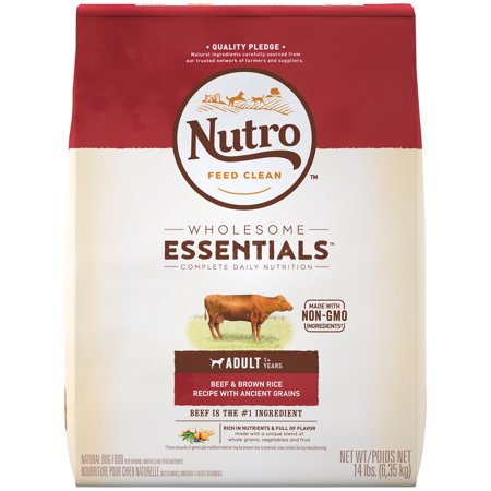- NUTRO WHOLESOME ESSENTIALS Adult Dry Dog Food, Beef & Brown Rice Recipe With Ancient Grains, 14 lb. Bag