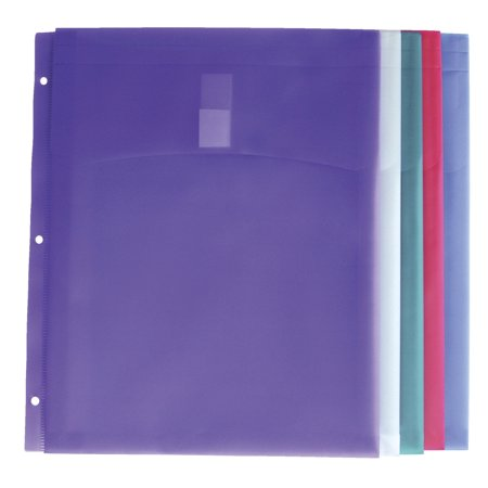 School Smart Durable Storage Envelope For 3 Ring Binders  Polypropylene  Assorted Colors  Pack Of 5