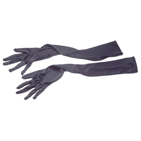 Veil Entertainment Elegant Long Silk Costume Gloves, Black, One-Size, 2 pc