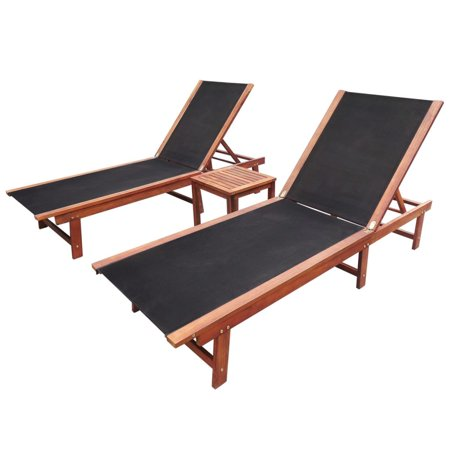 3 Pcs Outdoor Pool Chaise Lounge Chair Set with 2 Adjustable Sun Loungers + 1 Table Outdoor Furniture for Pool Patio Beach Backyard ()