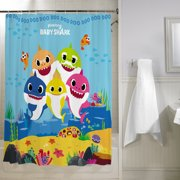 "Baby Shark Kids Bathroom Decorative Fabric Shower Curtain, 72"" x 72"