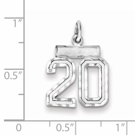 Sterling Silver Rhodium-plated Small #20 Charm QSN20 (20mm x 14mm) - image 1 of 2