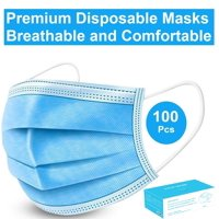 Disposable Face Mask - 100 Pack - Disposable Face Masks, 3-ply Elastic Ear Loop Filter Mask