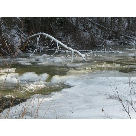 LAMINATED POSTER Water Creek Drifting Ice Ice Cold Ice Covered Poster Print 24 x 36 Cold Water Creek Eyelet