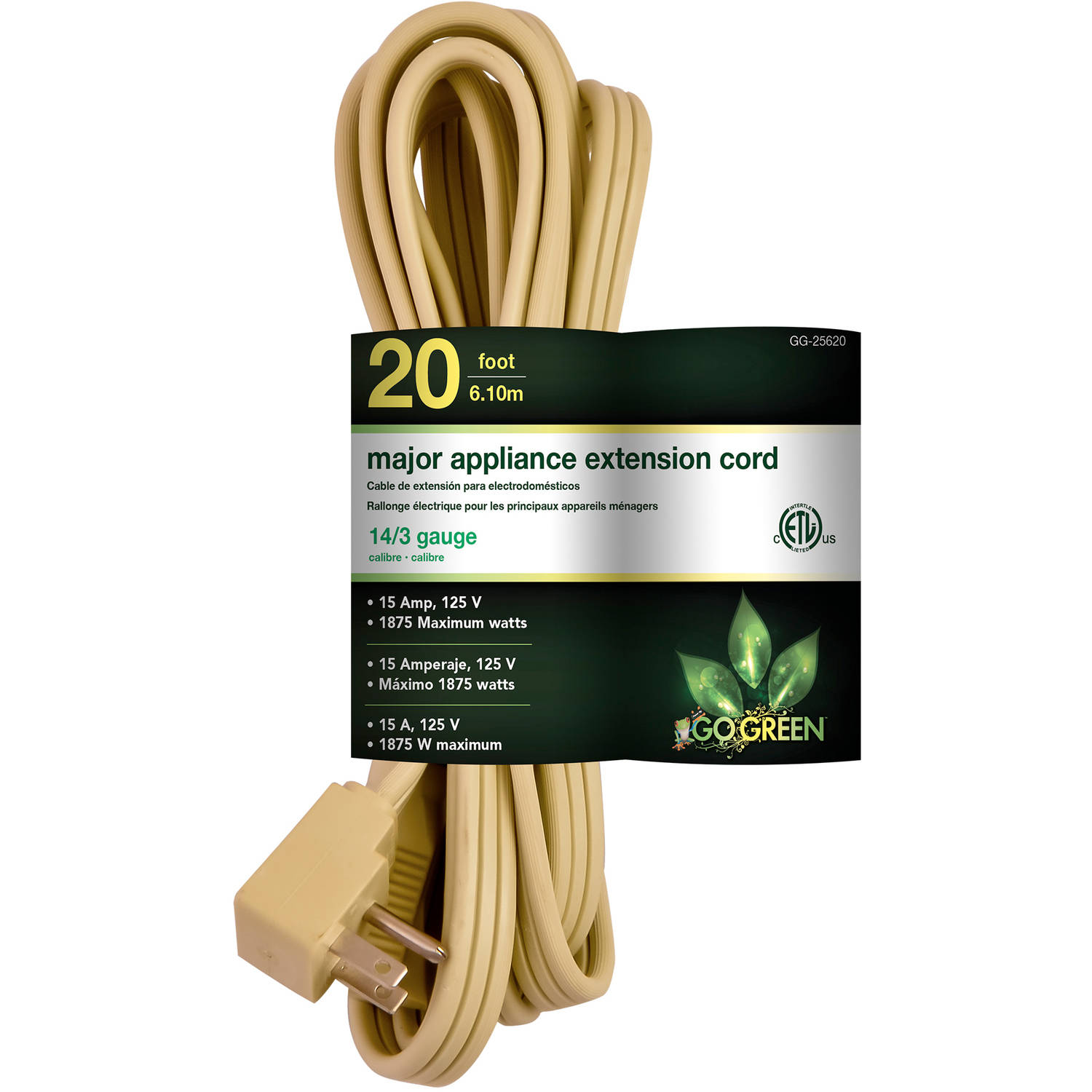 GoGreen Power 14/3 20' Appliance Cord, Beige, 25620
