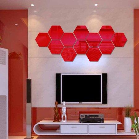 3D Hexagon Acrylic Mirror Wall Stickers DIY Art Wall Decor Stickers Home Decor - image 5 of 7