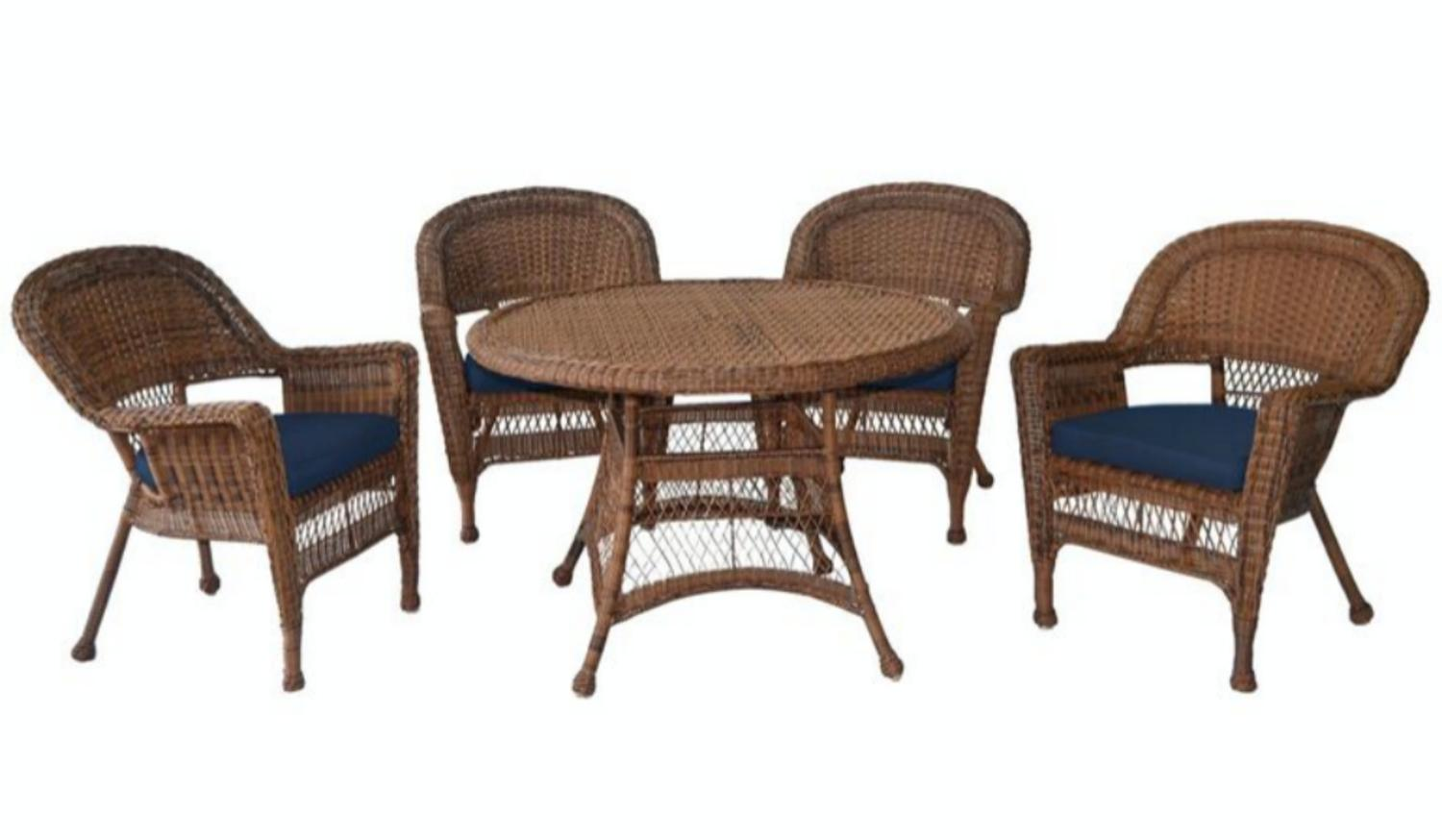 5-Piece Honey Resin Wicker Chair & Table Patio Dining Furniture Set Blue Cushions by CC Outdoor Living